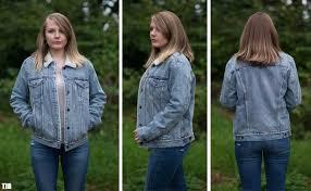 a denim jacket fit on a woman